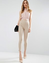 Asos Skinny Crop Trousers Neutral Stone
