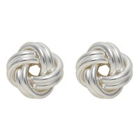 Nina B Silver Medium Knot Stud Earrings Silver