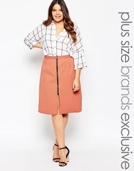 Alice And You Zip Detail A Line Skirt Rust