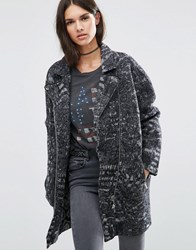 Diesel Textured Wool Long Biker Jacket Black