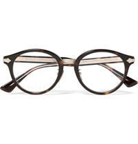 Gucci Round Frame Tortoiseshell Acetate And Gold Tone Optical Glasses Tortoiseshell
