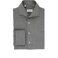Cifonelli Men's Textured Cotton Shirt Light Grey