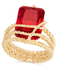 Charter Club Gold Tone Red Stone Multi Row Wrap Ring Created For Macy's