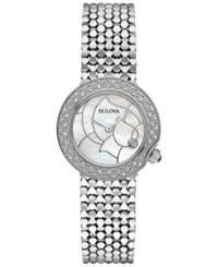 Bulova Women's Diamond Accent Stainless Steel Bracelet Watch 28Mm 96R209 A Macy's Exclusive No Color