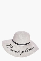 Boohoo Beach Please Straw Hat Grey