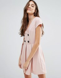 Wal G Skater Dress With Buttons Pink