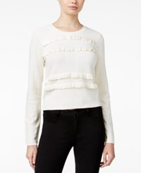 Maison Jules Ruffled Sweater Only At Macy's Egret