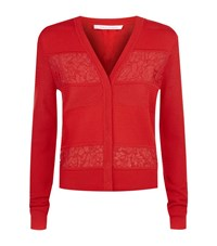 Diane Von Furstenberg Adelyn Lace Panel Cardigan Female Red