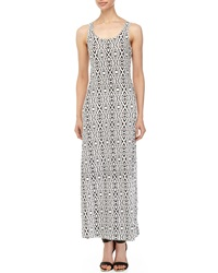 Lucca Couture Printed Cutout Back Maxi Dress White Black