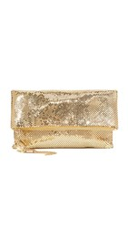 Whiting And Davis Snake Head Fold Over Clutch Gold