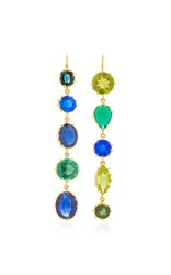 Renee Lewis Antique Peridot Emerald Sapphire Tourmaline Earrings Blue