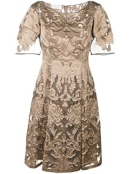 Alberta Ferretti Brocade Dress Silk Polyester Nude Neutrals