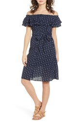 Lost Wander Melrose Off The Shoulder Dress Navy