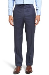 Santorelli Men's Flat Front Check Wool Trousers Navy