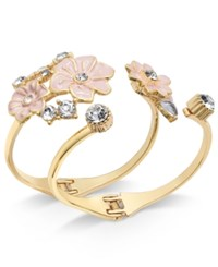 Inc International Concepts Gold Tone 2 Pc. Set Crystal And Pink Flower Hinged Cuff Bracelets Created For Macy's