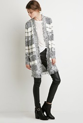 Forever 21 Fringed Abstract Stripe Cardigan Cream Navy