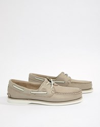 Timberland Classic Leather Boat Shoes In Stone