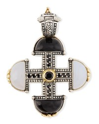 Konstantino Thetis Agate And Spinel Short Cross Pendant White Black