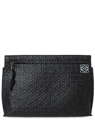 Loewe Embossed Leather T Pouch Black