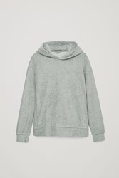 Cos Relaxed Towelling Hoodie Green