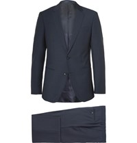Hugo Boss Hamsen Glen Slim Fit Wool Three Piece Suit Navy