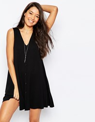 Asos Sleeveless Swing Dress With Button Front Black
