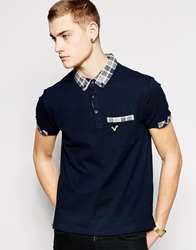 Voi Jeans Polo Shirt Check Collar And Cuffs Navy