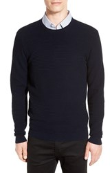 Boss Men's 'Banty' Wool And Cotton Rib Knit Pullover Navy