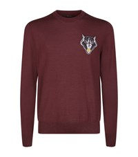Billionaire Wolf Crest Crew Neck Sweater Male Plum