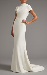Elizabeth Kennedy High Neck Cap Sleeve Gown With Open Back White