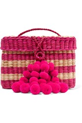 Nannacay Baby Roge Pompom Embellished Striped Woven Raffia Tote Sand Gbp