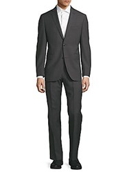 Saks Fifth Avenue Textured Wool Blend Suit Charcoal