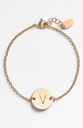Women's Nashelle 14K Gold Fill Initial Disc Bracelet 14K Gold Fill V