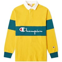 Champion Reverse Weave Big Script Rugby Shirt Yellow