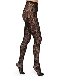 Alice Olivia Silk Effect Cashmere Blend Diamond Knit Tights Black