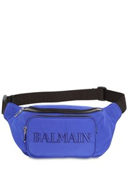 Balmain 35 Logo Embroidered Nylon Belt Bag Black