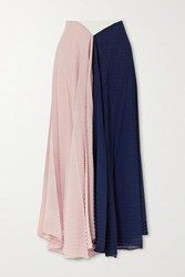Roland Mouret Orvana Color Block Pleated Georgette And Crepe Maxi Skirt Navy