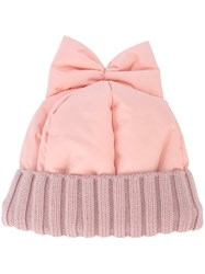 Federica Moretti Bow Detail Beanie Pink And Purple