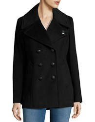 Karl Lagerfeld Double Breasted Peacoat Black