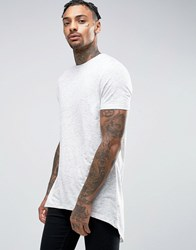 Asos Super Longline T Shirt With Raw Neck And Scoop Back Hem In Textured Fabric Off White