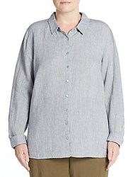 Eileen Fisher Plus Size Linen Button Front Shirt Chambray