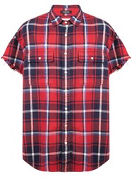 R 13 R13 Checked Shortsleeved Shirt Red