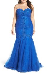 Mac Duggal Plus Size Women's Embellished Applique Strapless Mermaid Gown
