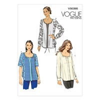 Vogue Very Easy Bias Neck Button Placket Blouse Sewing Pattern 9086