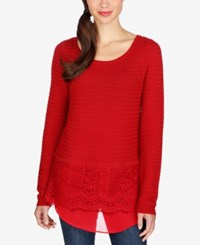 Lucky Brand Lace Contrast Sweater Rio Red