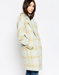 Yumi Oversized Check Coat Multi Pastel