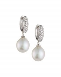 Belpearl Akoya Pearl And Diamond Hoop Drop Earrings