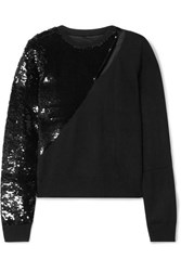 Rta Teagan Cutout Sequined Modal Blend Sweater Black