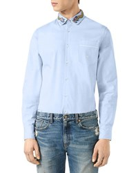 Gucci Duke Cotton Shirt With Dragon Embroidery Blue