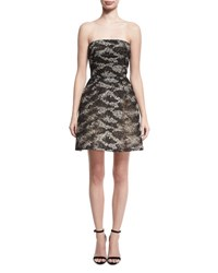 Monique Lhuillier Strapless Embroidered Tulle Cocktail Dress Black Silver Black Silver